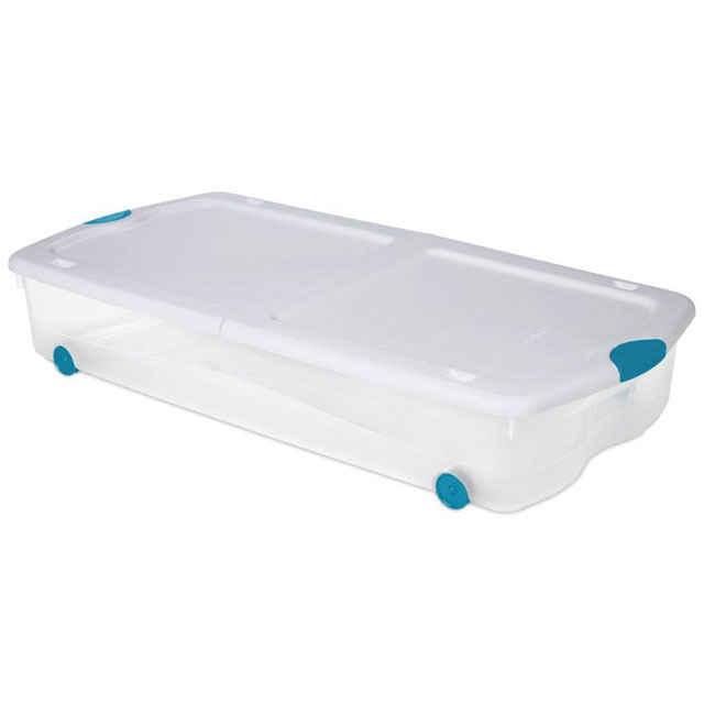 sterilite underbed storage with wheels 67 qt rolling under bed box. Black Bedroom Furniture Sets. Home Design Ideas