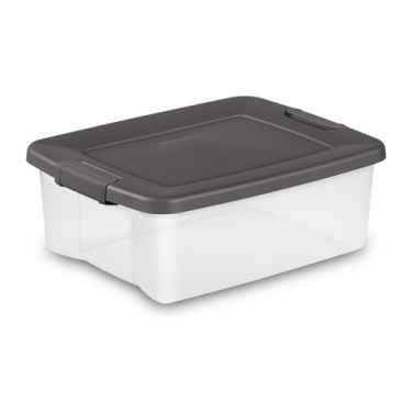 Clear Sterilite Shelf Tote, 25 Qt - 6 Pack