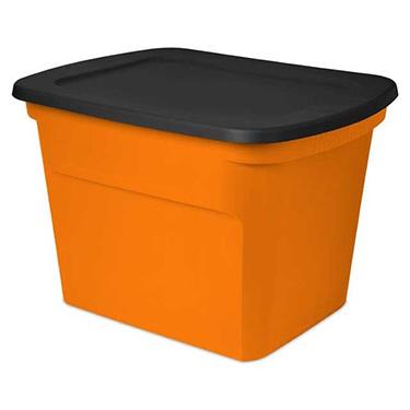18 Gallon Black and Orange Sterilite Tote - Pack of 8