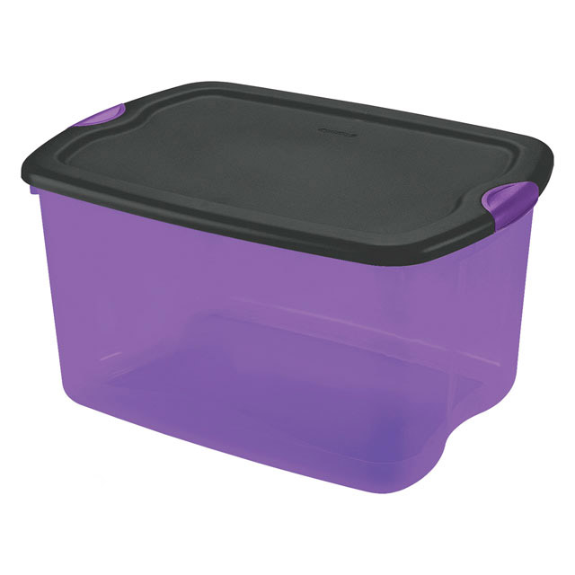 Sterilite 66 Quart Purple & Black Latch Box : Plastic Storage Boxes