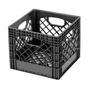 Wholesale Heavy Duty Black Plastic Milk Crates - Set of 96