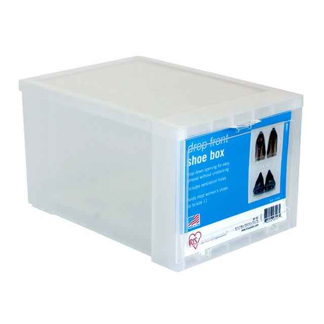 Plastic Drop Front Shoe Box, Small : Clear Shoe Storage Boxes