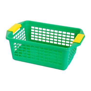 Flip-N-Stack Medium Green Plastic Baskets - Set of 12