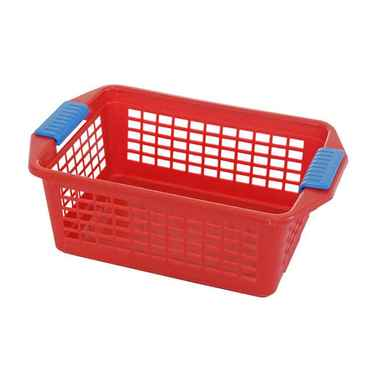 Flip-N-Stack Medium Red Plastic Basket - Set of 12