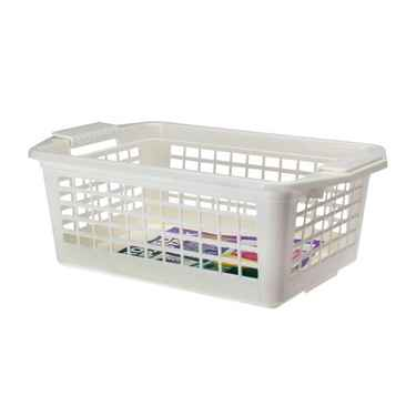 Flip-N-Stack Medium White Plastic Baskets - Set of 12