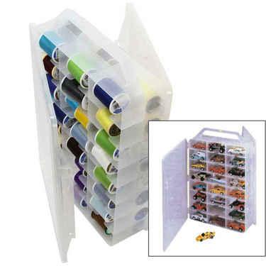 Plastic Thread Organizer & Toy Car Storage Case - Set of 6