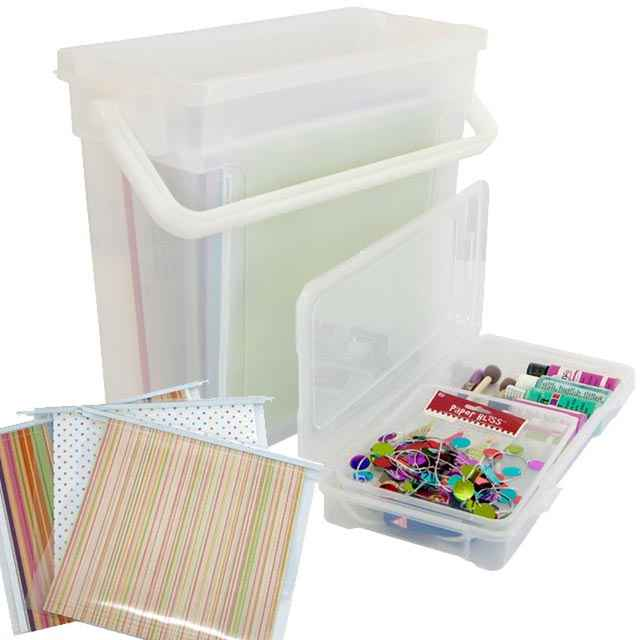 Set Of 4 Iris Handy Scrapbook Carriers With File Folders