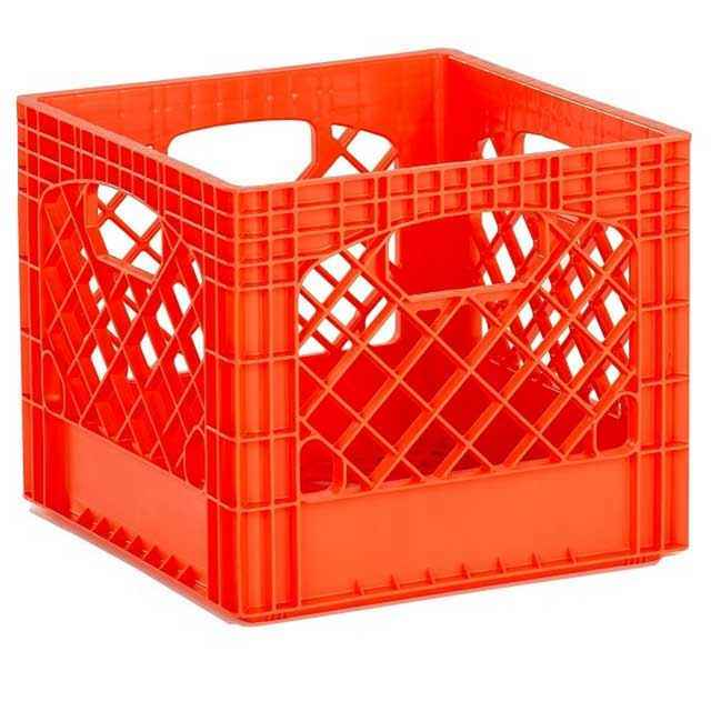 Orange Plastic Milk Crates   Set Of 96