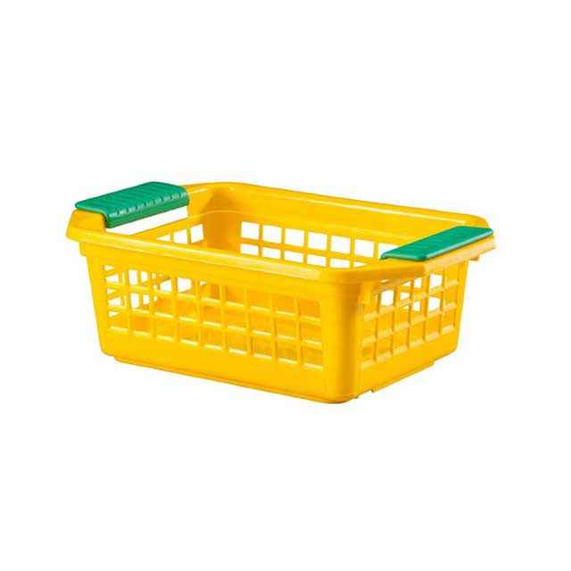 Flip N Stack Small Yellow Plastic Baskets   Set Of 24