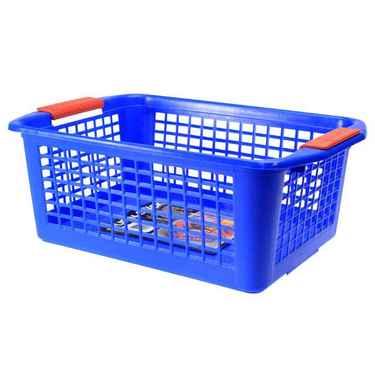 Flip-N-Stack Large Blue Plastic Baskets - Set of 12