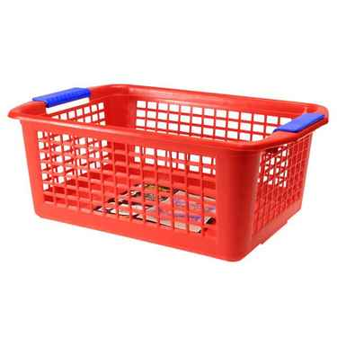 Flip-N-Stack Large Red Plastic Baskets - Set of 12
