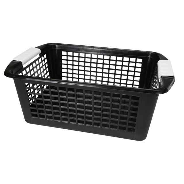 Flip N Stack Large Black Plastic Baskets   Set Of 12