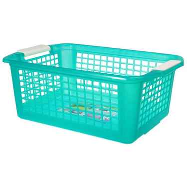 Flip-N-Stack Large Teal Plastic Baskets - Set of 12