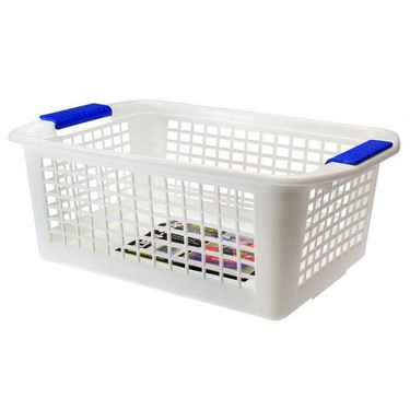 Flip-N-Stack Large White Plastic Baskets - Set of 12