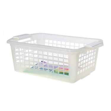 Flip-N-Stack Medium Clear Plastic Baskets - Set of 12