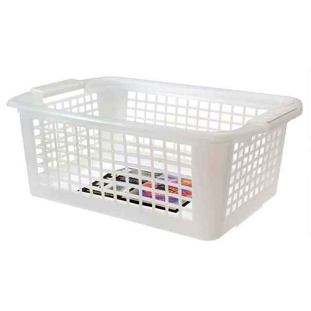 Flip N Stack Large Clear Plastic Baskets   Set Of 12