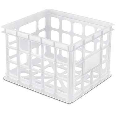 Plastic Crates by Sterilite: White, Stackable - Set of 6