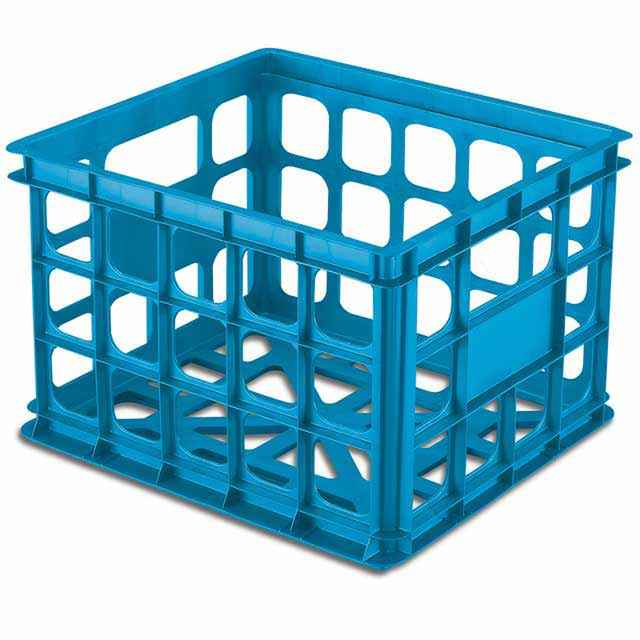 Plastic Crates By Sterilite Blue Stackable Set Of 6