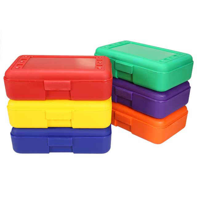 Plastic Pencil Box, Multicolor set of 6