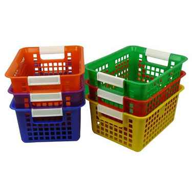 Book Baskets For Classroom, Multi-Color Set of 6