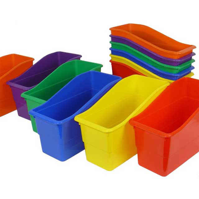 Book Bins, Plastic Multi Color Set Of 6