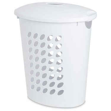sterilite oval laundry hamper with lid white laundry hamper. Black Bedroom Furniture Sets. Home Design Ideas