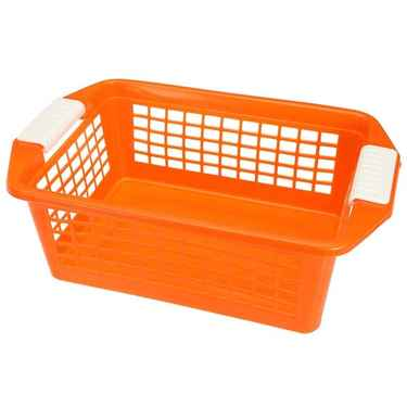 Flip-N-Stack Medium Orange Plastic Baskets - Set of 12