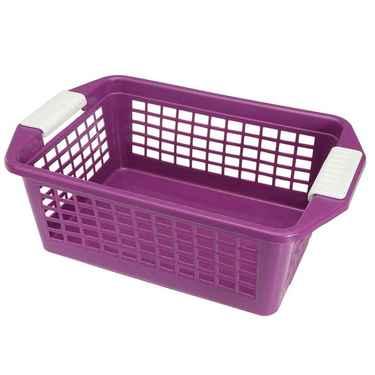 Flip-N-Stack Medium Purple Plastic Baskets - Set of 12