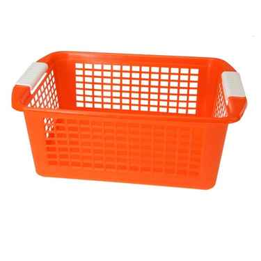 Flip-N-Stack Large Orange Plastic Baskets - Set of 12