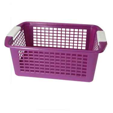 Flip-N-Stack Large Purple Plastic Baskets - Set of 12