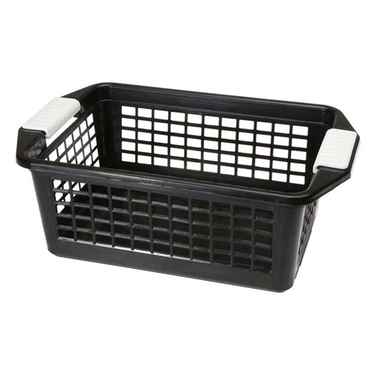 Flip-N-Stack Medium Black Plastic Baskets - Set of 12